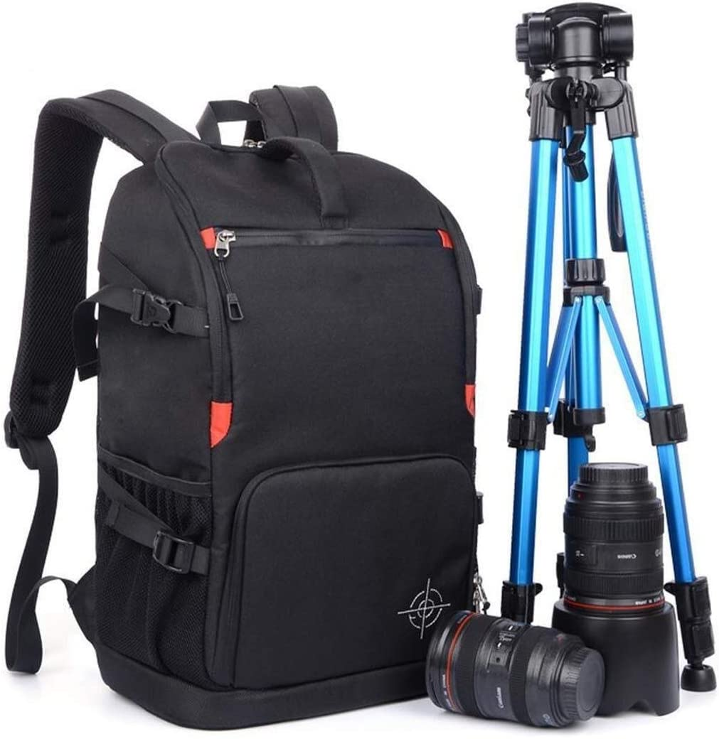 Qingbaotong Personality Multi-Functional Large-Capacity Camera Backpack Suitable for Scaffolding Lenses and Accessories Large-Capacity Storage Backpack 29 X 16 X 46cm Black Exquisite