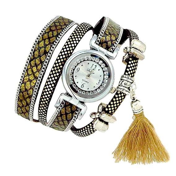 Reloj de pulsera Joya reloj mujer Dial redondo Números arábigos Quarzo analógico Flexible Mujer Dorado Koda: Amazon.es: Relojes