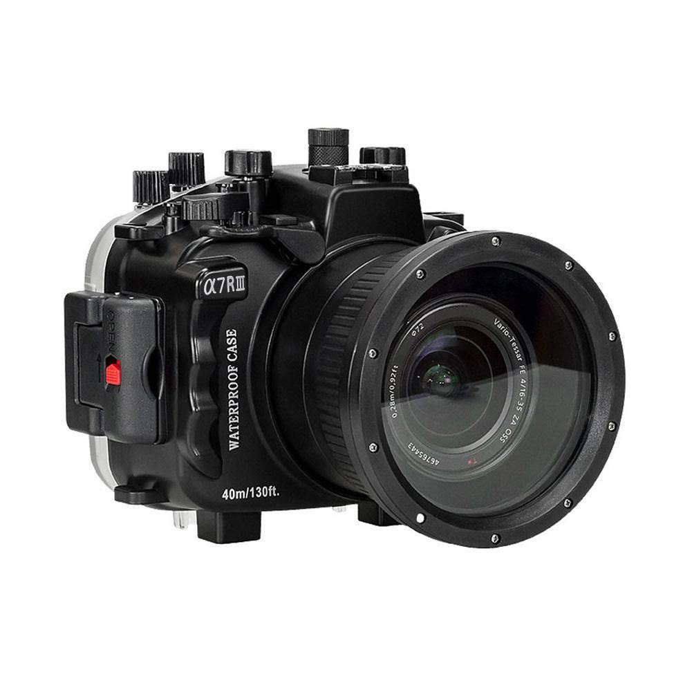 Haofy 防水ケース カメラ 40メートルカメラ水中ハウジングダイビング防水カメラハウジングケースレンズプロテクターカバーキットソニーA7R III   B07S46K8DN