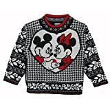 Disney Little Girls Black White Minnie Mickey Mouse Deco Knit Sweater 4