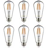 Helloify Light Dimmable Edison, Vintage Antique Style ST19(ST64) LED Filament Bulbs, 60W Incandescent Equivalent, 2700K(Clear