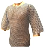 Zinc Plated Chainmail Shirt BUTTED Chainmail Haubergeon Medieval Costume Armour ABS
