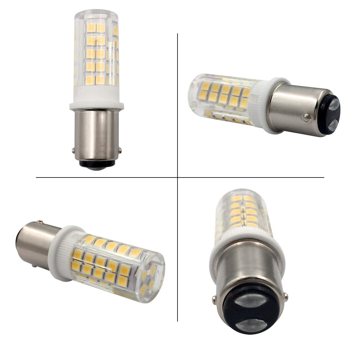 ZHENMING Ba15d 120V LED Light Bulb Dimmable 8 Watts Ba15d Double Bayonet Base T3/T4/C7/S6 Halogen Bulbs Equivalent for Sewing Machine Lamp Warm White ...