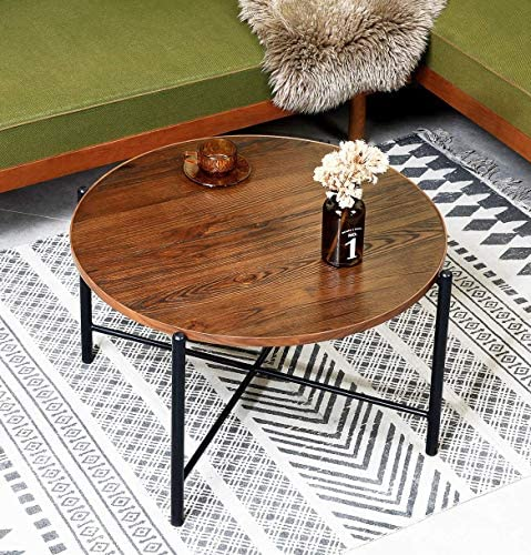 Aingoo Round Coffee Table Industrial Rustic Solid Wood Cocktail Accent Table Sofa Table