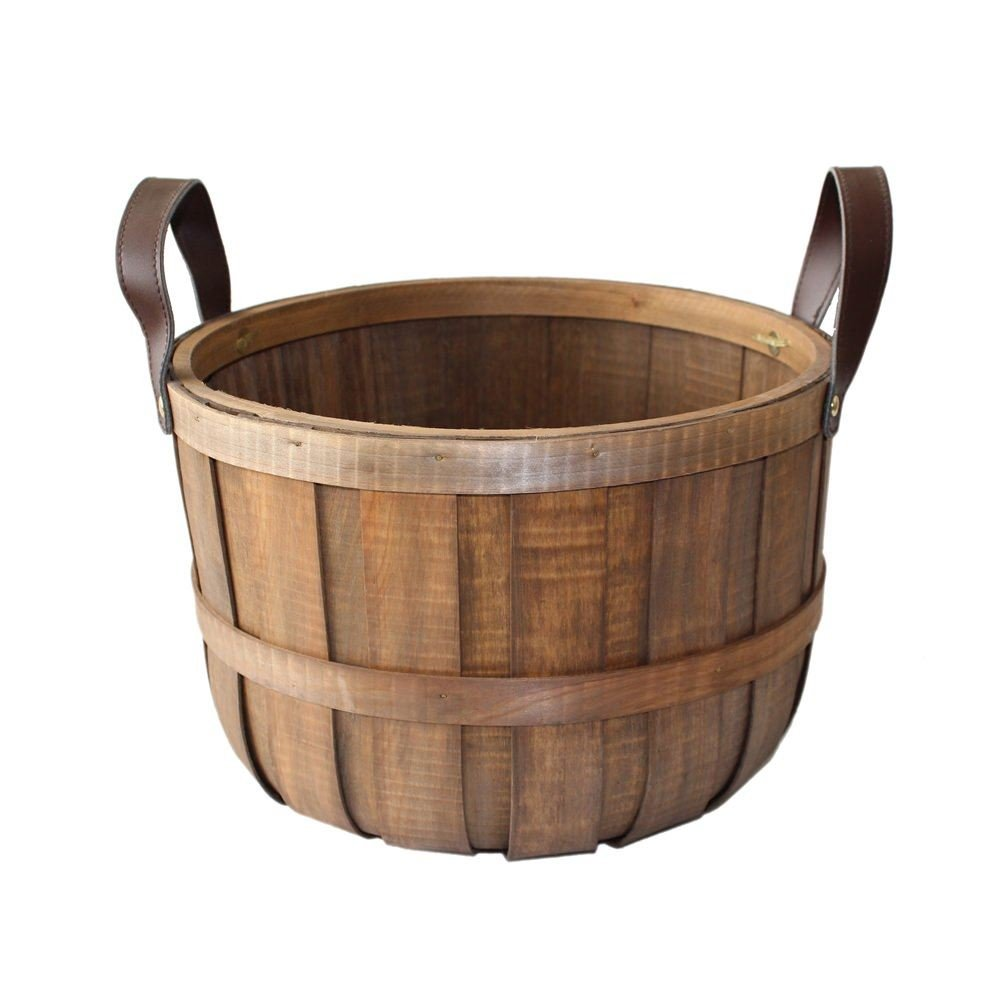 Small Chipwood Barrel Storage Basket