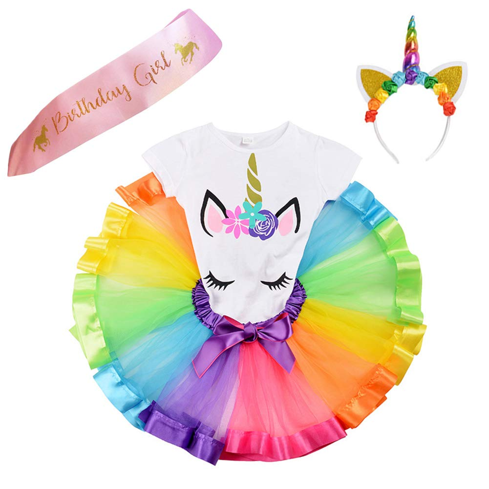 JiaDuo Girls Costume Rainbow Tutu Skirt with Unicorn Shirt, Headband & Satin Sash
