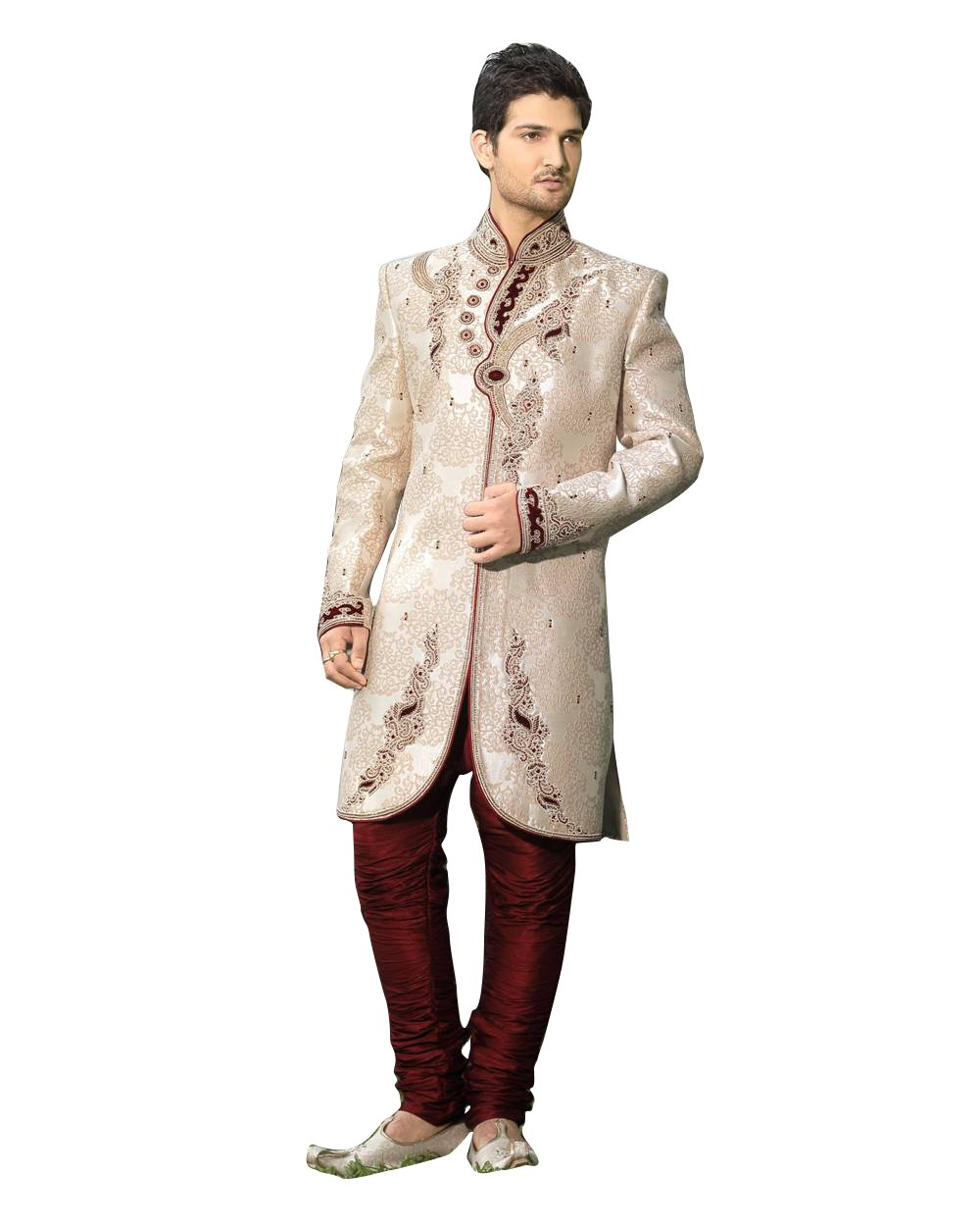 Ethnic Off White Jacquard Silk Indian Wedding Sherwani For Men by Saris and Things