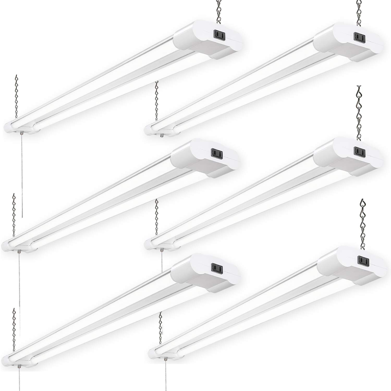 6 Pack Linkable LED Shop Lights for Garage, Amico 4FT 4000LM 5000K Daylight Double Integrated LED Garage Light