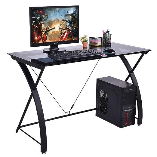 TANGKULA Mesa de escritorio para ordenador, mesa de escritura ...