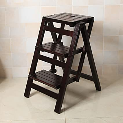 Solid Wood Folding Ladder Three Layers Ladder Stool Step Ladder Staircase  Stool Household Ladder Multi