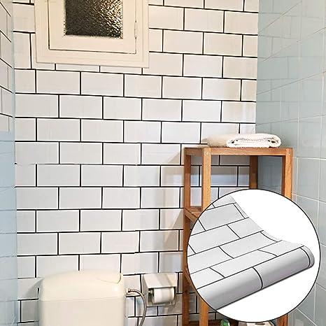 Yenhome 24 X 118 White Matt Self Adhesive Waterproof Vinyl Wall Paper For Kitchen Backsplash Peel And Stick Wallpaper For Bedroom Living Room