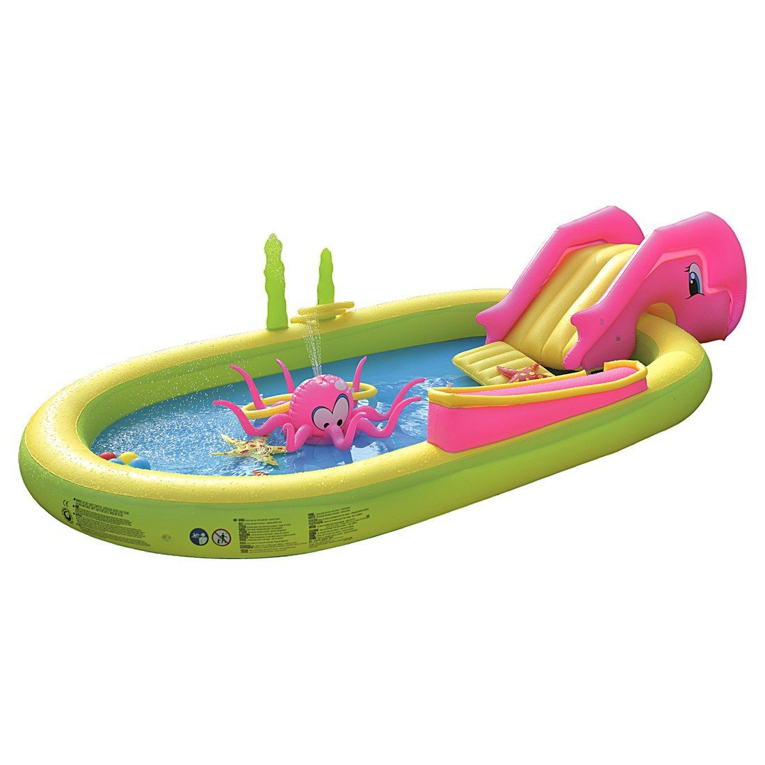Jilong 97009 Fun Piscina Multigioco Sea Animal con Scivolo e Spruzzi, Multicolore 298 cm x 165 cm x 55 cm JL097009NPF -P103