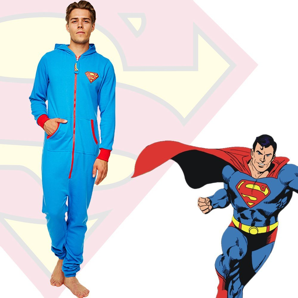 Amazon.com : Groovy UK Ltd Mens Superman Onesie M Black : Sports & Outdoors