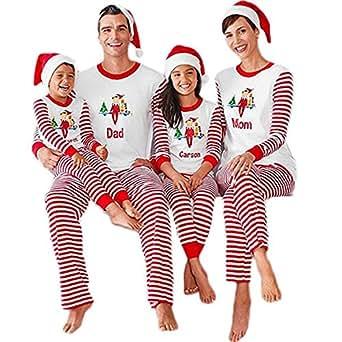 Christmas Stripes Family Matching Pajamas Carson Mon Dad Pjs Sets Sleepwear (2T, Kids)