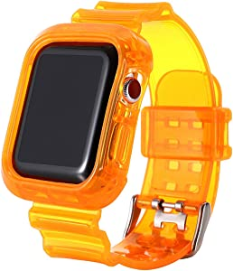 Clear Neon iwatch Strap Bands, TPU Smart Apple Watch Bands with Bumper Protective Case 38mm/40mm,Crystal Sports Wristband Bangle Strap iPhone Watch Series 6 5 4 3 2 1 (Orange, 38mm/40mm)