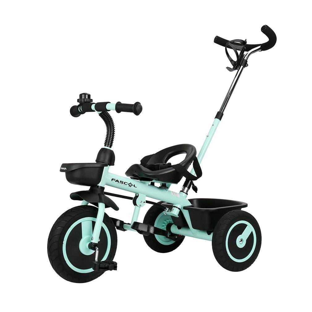 Fascol Tricycle avec Système de Direction Externe Bicyclette à Trois Roues pour Enfants 18 Mois à 5 Ans 30 kg de Charge (Marine)