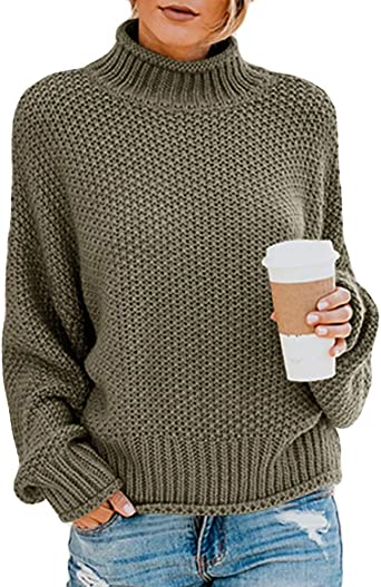 Women/'s Turtle Neck Baggy Tops Chunky Knitted Pullover Sweater Jumper Knitwear