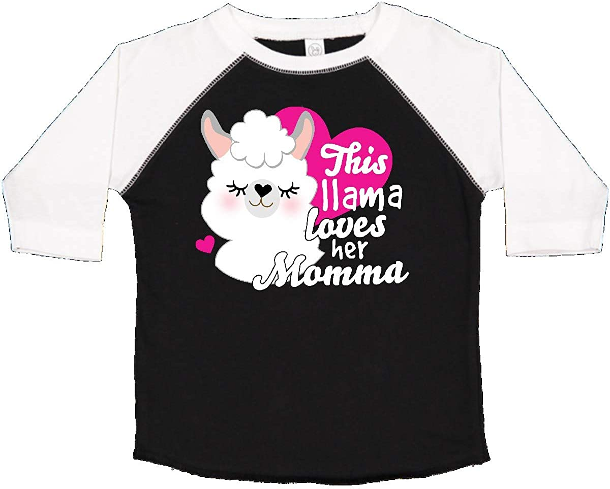 inktastic Valentines Day This Llama Loves Her Momma Toddler T-Shirt