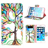 """For iphone 6S/iphone 6 Case, TUTUWEN Beautiful Green [Tree and Leaf] [Magnetic] Style PU Leather Case Wallet Flip Stand [Flap Closure] Cover for Apple iphone 6S and iphone 6 (4.7"""")"""