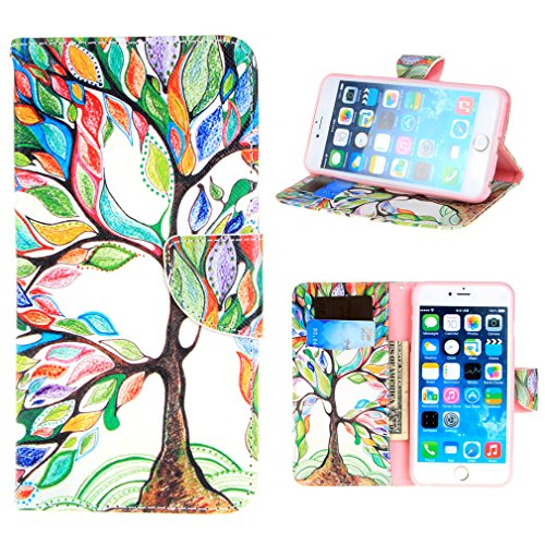 TUTUWEN Green Tree and Leaf Style Folio Stand Case Wallet for Apple iphone 6s Plus and iphone 6 Plus - Pink
