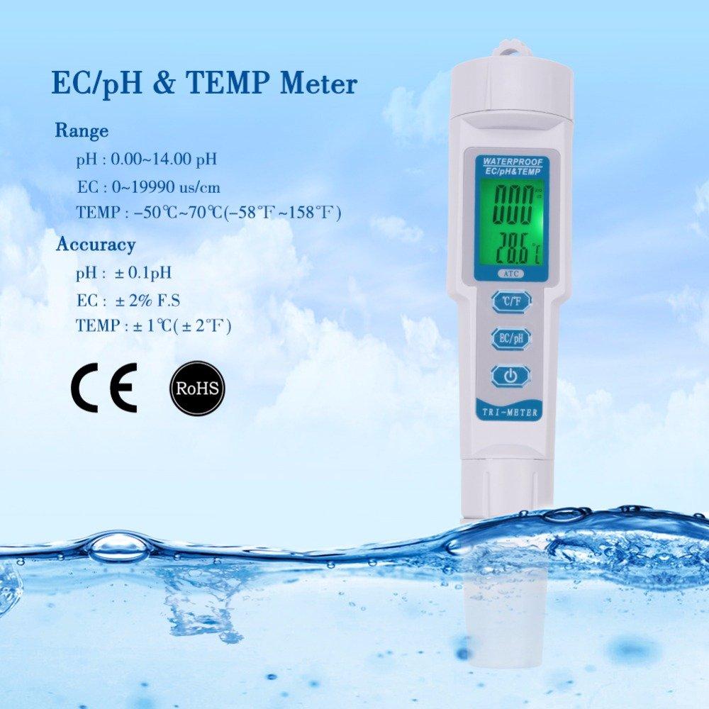 YARUIFANSEN Professional 3 in 1 Multi-parameter PH Monitor Water Quality Tester Pen Type pH EC TEMP Acidometer Drink Water Quality Analyser