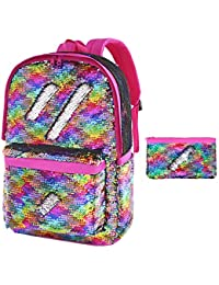 Flip Sequin School Backpack Bookbag for Girls Kids Teen Cute Glitter Sparkly Book bags Back Pack (Rainbow)