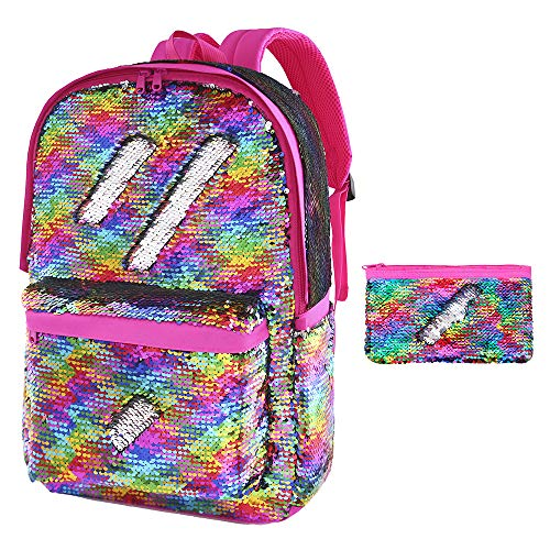 Flip Sequin School Backpack Bookbag for Girls Kids Teen Cute Glitter Sparkly Book bags Back Pack (Rainbow)