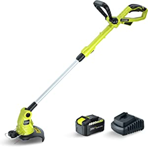 CACOOP 20V MAX Cordless String Trimmer/Edger with 4.0Ah Battery,Low DB Design,Lightweight & Portable & Stretchable Weed Grass Eater,Electric Weed Whacker Battery Powered for Cutting Grass