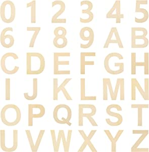 36 Pieces Wooden Letter Number Set Unfinished Wood Capital Alphabet Letters Wooden Numbers DIY Cutout Wooden Letters for Wall Decor Home Decoration and Kids Learning (6 Inch)