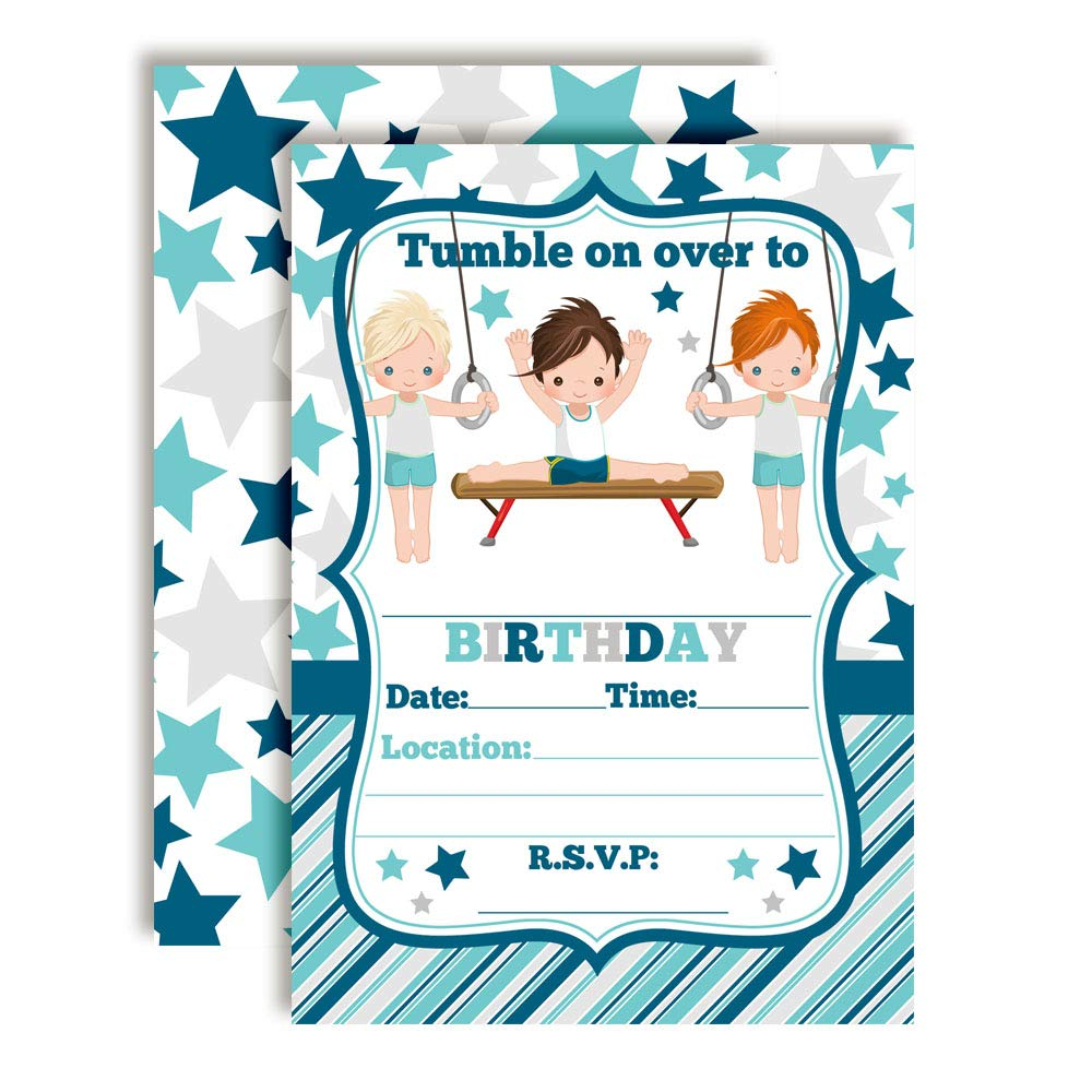 Gymnastics and Tumbling Themed Birthday Party Invitations for Boys, 20 5''x7'' Fill in Cards with Twenty White Envelopes by AmandaCreation by Amanda Creation (Image #1)