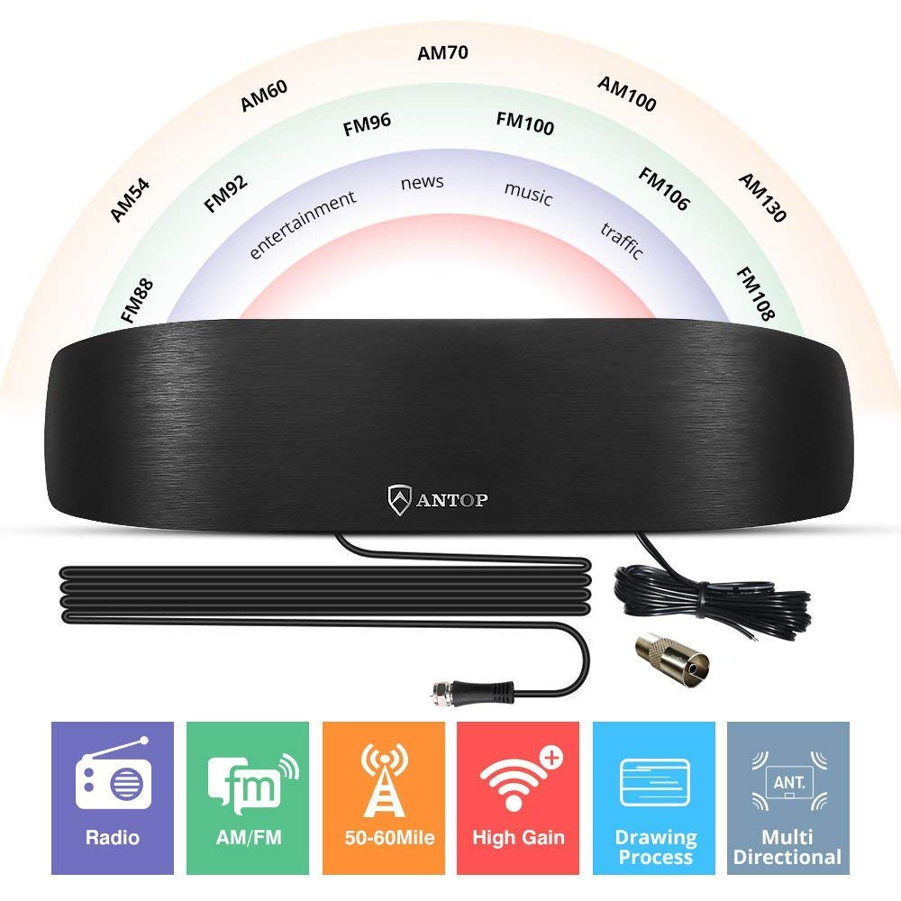 ANTOP Amplified Radio Antenna, Indoor AM FM Antenna 50 Miles Multi-Directional Reception for Stereo Radio Audio Signals, Built-in Amplifier Signal Booster and 4G LTE Filter with Adapter Connector