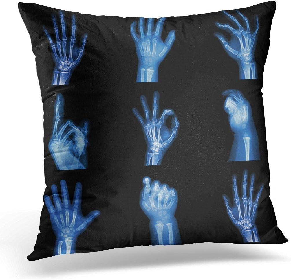 Awowee Funda de cojín de 45 x 45 cm, colección Xray de rayos X de las manos que apuntan película humana decoración del hogar, funda de almohada cuadrada para sofá cama