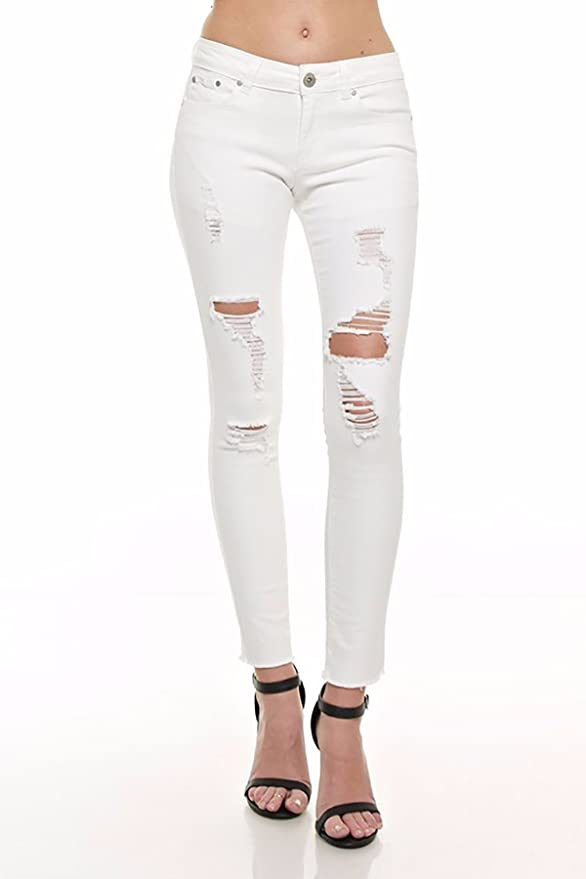 Monkey Ride Jeans White Mid-Rise Pockets Destroyed Ripped Distress Skinny  Fray Hem P7002W (7) at Amazon Women's Jeans store