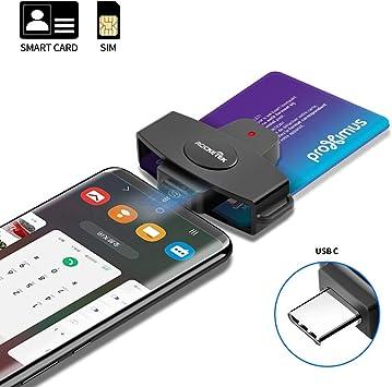 Type C Smart Card Reader Rocketek DOD Military USB-C Common Access CAC Card Reader, Credit Card Reader/Chip Card Reader Compatible with Android ...