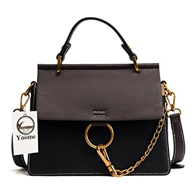 56b8717c3 Yoome Women's Vintage Shoulder Bags Top Handle Handbags Crossbody Ring Bag  Designer Purse (Black)