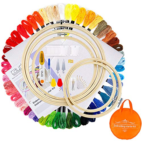 Caydo Full Range of Embroidery Starter Kit Including 5 Pieces Bamboo Embroidery Hoops, 50 Color Threads, 2 Pieces 12 by 18-Inch 14 Count Classic Reserve Aida and Cross Stitch Tool Kit for Beginners