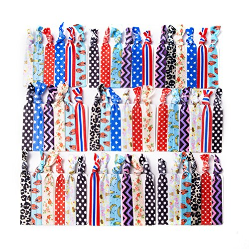 Price comparison product image Munax No Crease Elastic Ribbon Ponytail Holders Printed Patterns Knotted Hair Bands Ribbon , 100 Ties