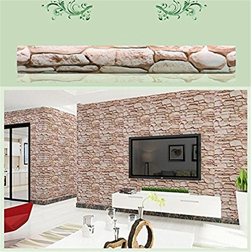AxiEr Modern 3D Brick Stone Mural Roll Wallpaper Wall Stickers Background Nursery Family Home Room Decor Decoration Vinyl Art Mural (F)