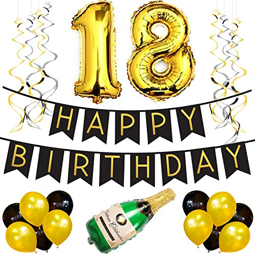 18th Birthday Party Pack – Black & Gold Happy Birthday Bunting, Poms, and Swirls Pack- Birthday Decorations – 18th Birthday Party Supplies