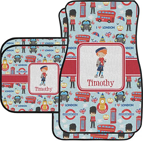 YouCustomizeIt London Car Floor Mats Set - 2 Front & 2 Back (Personalized) ()