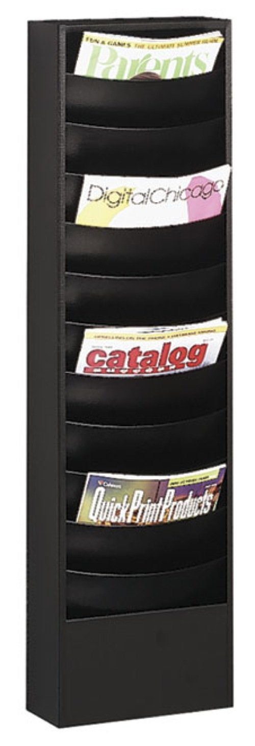 Buddy Products Eclipse 11 Pocket Curved Steel Literature Rack, 4.5 x 36.375 x 9.75 Inches, Black (0862-4)