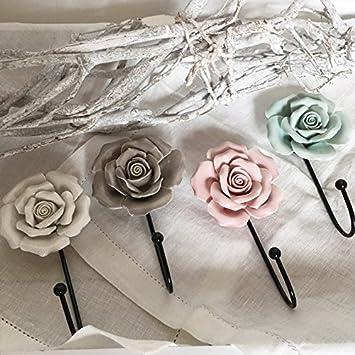 Nostalgie Garderobenhaken Haken Wandhaken Kleiderhaken Rose Shabby Chic Metall