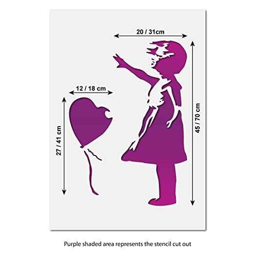 craftstar Große Banksy Balloon Girl stencil- Urban Graffiti Wall Art ...