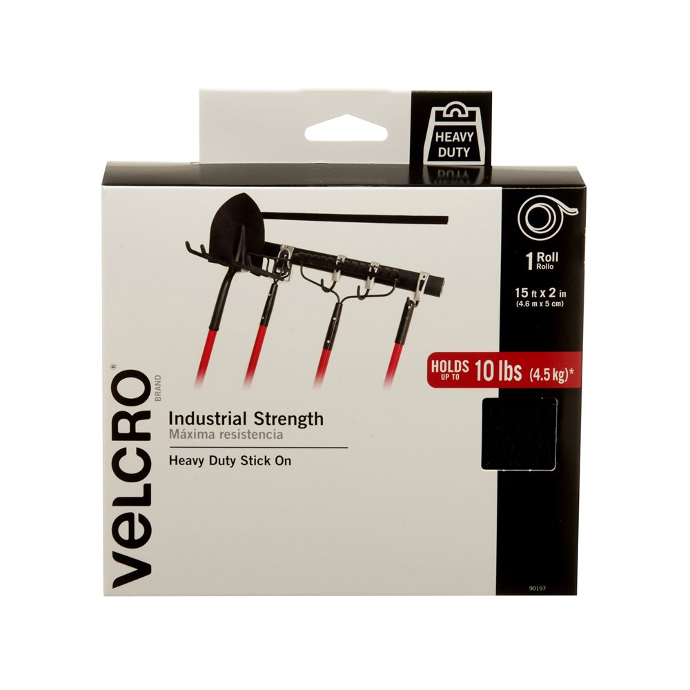 VELCRO Brand Industrial Strength Fasteners | Stick-On Adhesive | Professional Grade Heavy Duty Strength Holds up to 10 lbs on Smooth Surfaces | Indoor Outdoor Use | 15ft x 2in Tape, Black by VELCRO Brand