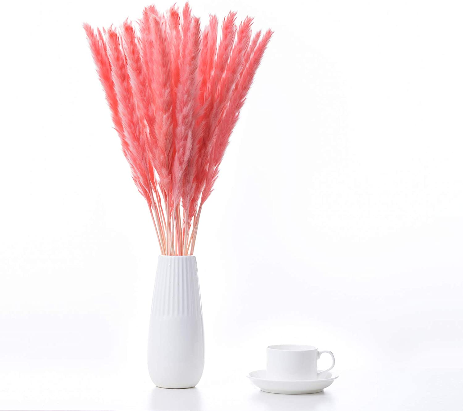 FOREST -V 40 Pcs Dried Pampas Grass,Pampas Grass Decor,Dried Grass,Dried Flower Artificial,Tall Pampas Grass,Pampas Grass Large, Natural White|Brown|Pink| pompous Grass,Arrangement Vase Decor(45CM)