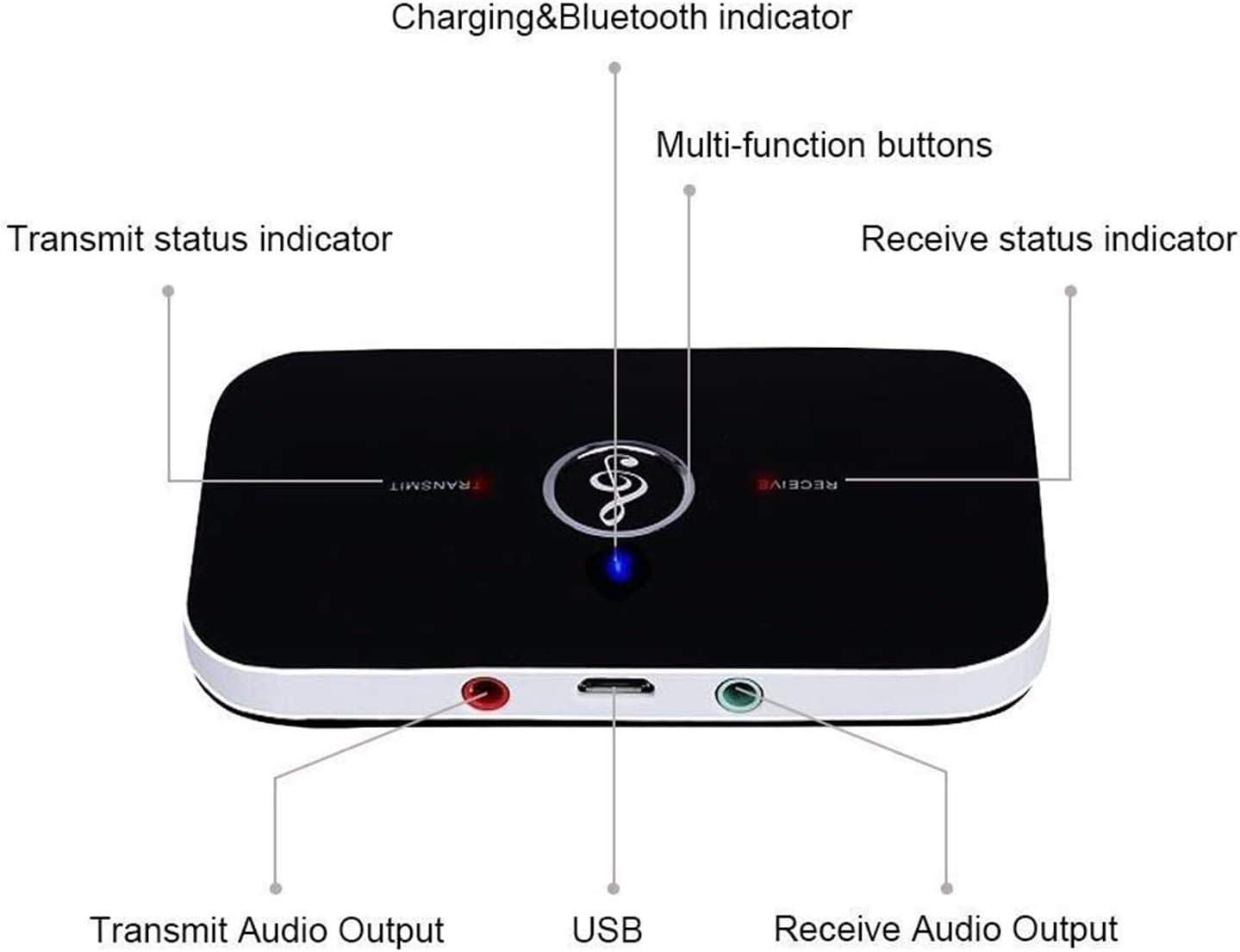 Receptor Transmisor Bluetooth,Ozvavzk Transmisor y Receptor Bluetooth Adaptador 5.0 Inalámbrico 2 en 1 Audio Kit con Salida Audio 3,5 mm RCA Audio