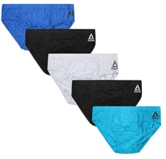 Reebok Men's Low Rise Underwear Briefs (5 Pack), Black/Blue/Light Blue/Grey/Black, Small