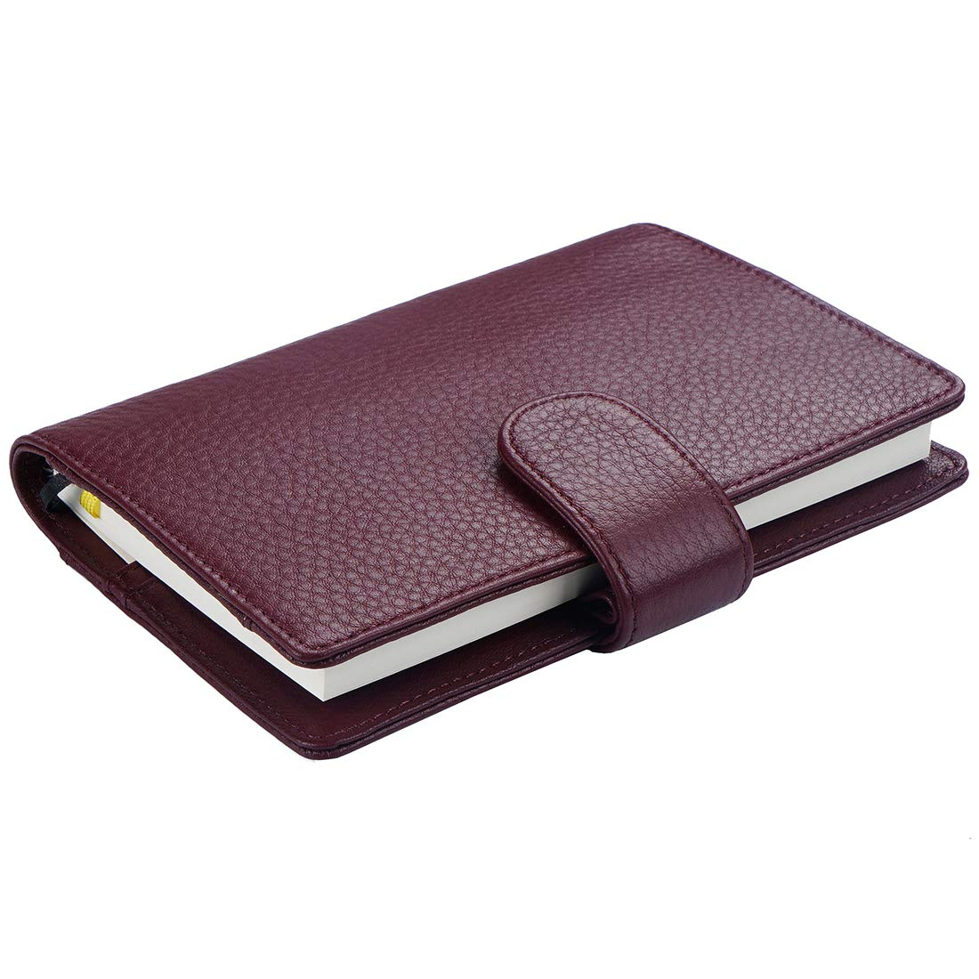 Planner Cover for Hobonichi Techo, Midori MD, Stalogy A6 Notebooks - Moterm Genuine Leather Notebooks Cover with Pen Loop, with Card Slots and Pockets (A6, Dark Purple) by Moterm