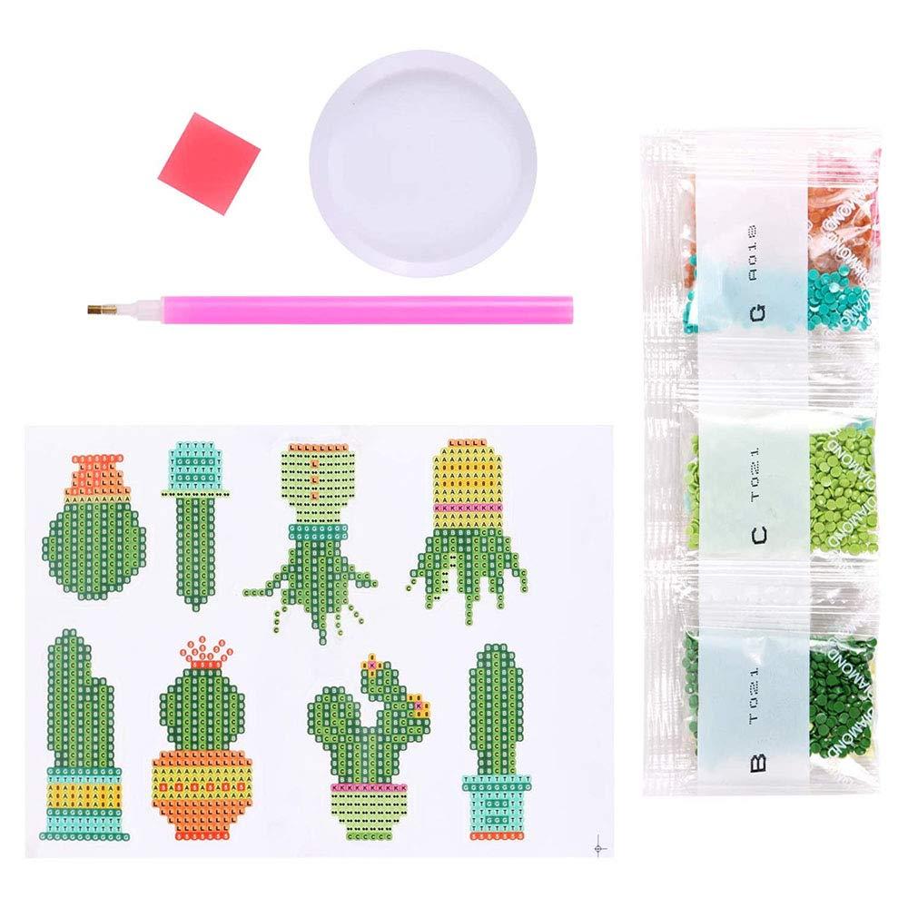 Doraking Cactus Diamond Painting Stickers Cactus 8PCS Cuctus Diamond Painting Number Painting Kits Set for Kids