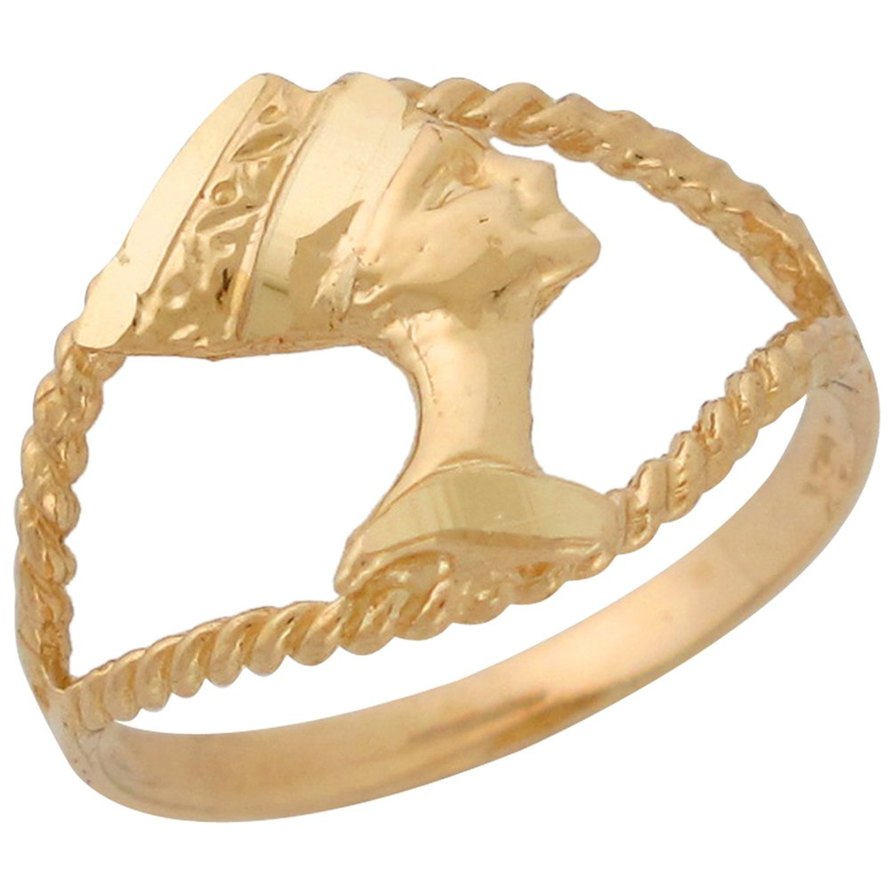 14k Yellow Gold Stunning Rope Design Diamond Cut Egyptian Queen Nefertiti Ring by Jewelry Liquidation